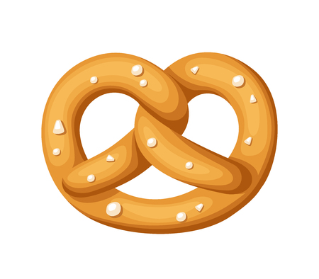 Pretzel with salt isolated on a white background.