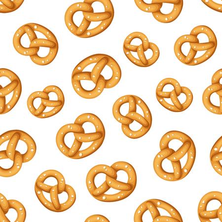 pretzels: Vector seamless pattern with pretzels on a white background. Illustration