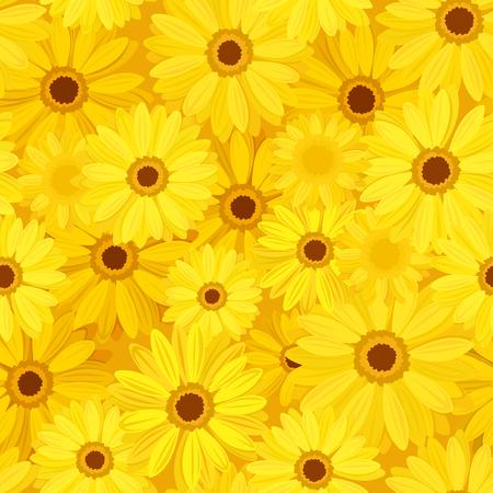 gerbera: Vector seamless background with yellow gerbera flowers.