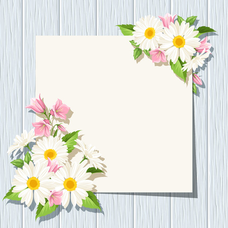 bluebell: Vector card with daisies and pink bluebell flowers on a blue wooden background.