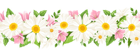 Vector horizontal seamless background with white daisies and pink harebell flowers.