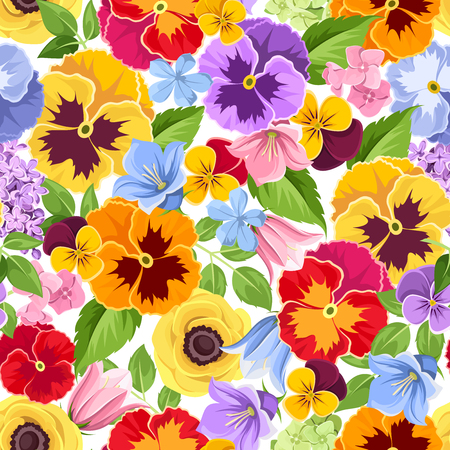 Vector seamless background with colorful pansy, harebell and hydrangea flowers.