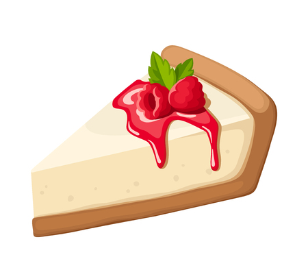 Vector stuk van een cheesecake met frambozen, jam en muntblaadjes geïsoleerd op een witte achtergrond.