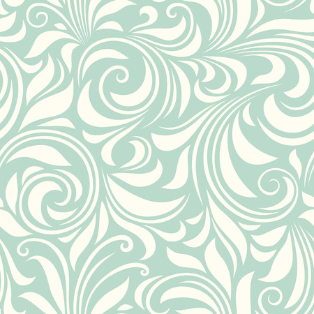 celadon: Vector vintage seamless blue and white floral pattern.