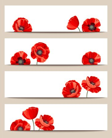 claret red: Set of four vector web banners with red poppies.