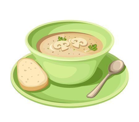 homemade bread: Vector mushroom cream soup in a green plate isolated on a white background.