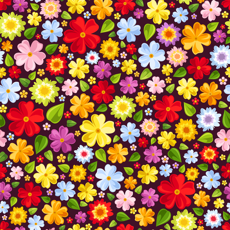 Vector seamless background with bright colorful flowers and leaves.