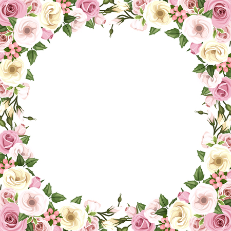 rosebud: Vector background frame with pink roses and lisianthus flowers.