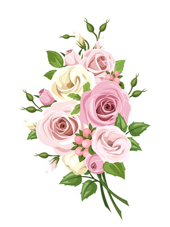 rose bouquet: Vector bouquet of pink and white roses and lisianthus flowers isolated on a white background. Illustration