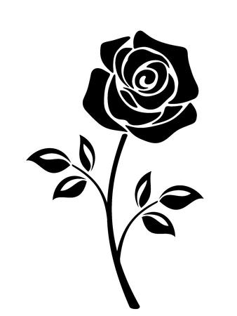 tige: Vector black silhouette d'une fleur rose avec tige isolé sur un fond blanc.
