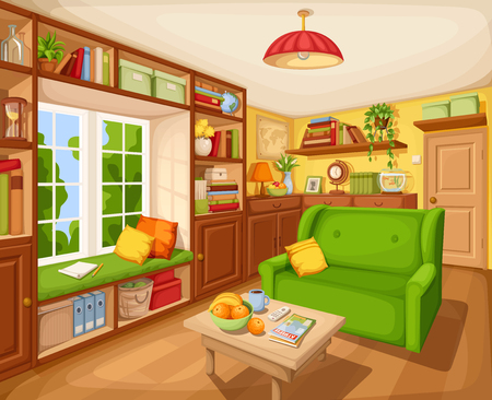 Vector cozy living room interior with bookcase, sofa and table. Stock Illustratie