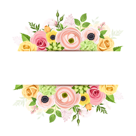 Vector background banner with pink, orange and yellow roses, lisianthuses, anemone flowers and green leaves. Illustration