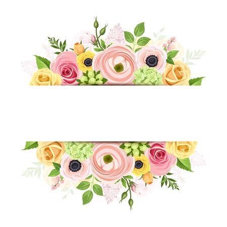 Vector banner met roze, oranje en gele rozen, lisianthuses, anemoon bloemen en groene bladeren.
