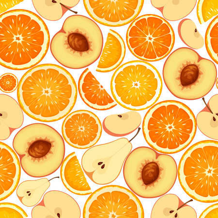 apples and oranges: Vector seamless background with various orange fruit slices.