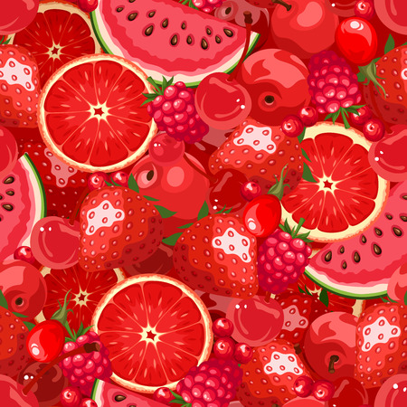 Vector seamless background with various red fruit and berries.