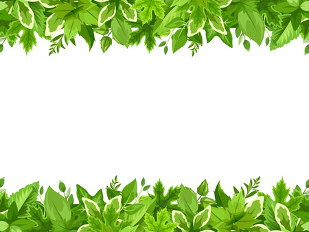garland border: Vector horizontal seamless background with green leaves.