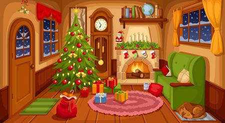 muerdago: Ilustración del vector de la sala de estar de la Navidad con sofá, chimenea, reloj y abeto.