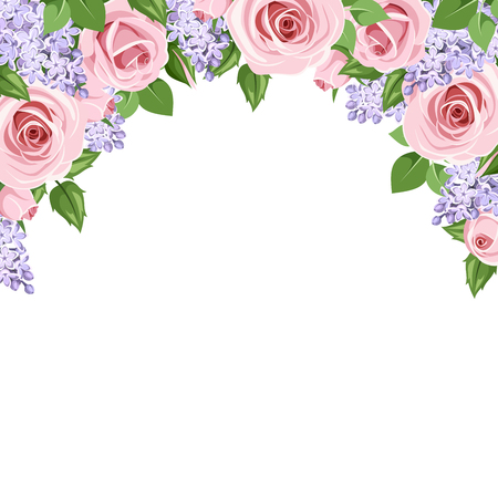 natural arch: Vector background with pink roses and purple lilac flowers on a white background. Illustration