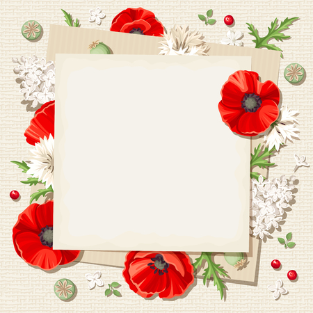 sacking: Vector rustic card with red poppies and white lilac flowers and cornflowers on a sacking background.