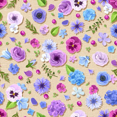 sacking: Vector seamless pattern with blue and purple pansies, cornflowers, lisianthuses, bluebells and hydrangea flowers on a sacking background. Illustration