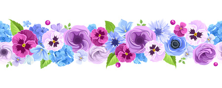 in a row: Vector horizontal seamless background with blue and purple pansies, cornflowers, lisianthuses, bluebells and hydrangea flowers.