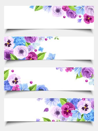 Vector set di quattro banner web con viole del pensiero blu e viola, fiordalisi, lisianthuses, campanule e fiori di ortensia.