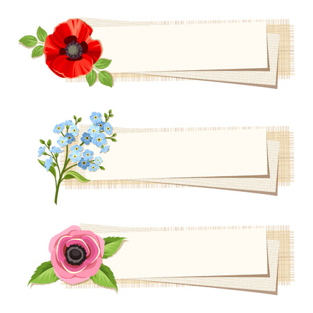 sacking: Set of three vector web banners with red poppy, blue forget-me-not and pink anemone flowers. Illustration