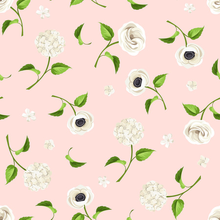 anemones: Vector seamless pattern with white lisianthuses, anemones and hydrangea flowers on a pink background.