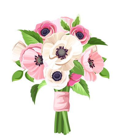 Vector bouquet of pink and white poppies and anemone flowers isolated on a white background.