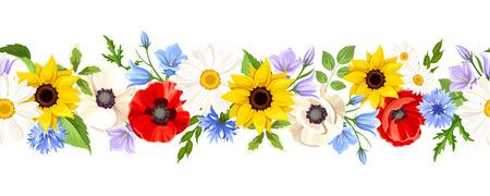 ベクトル水平シームレスな背景白地にカラフルな野生の花。