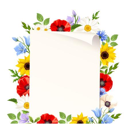 野生のカラフルな花ベクター チラシ背景。