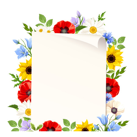Vector flyer background with colorful wild flowers.
