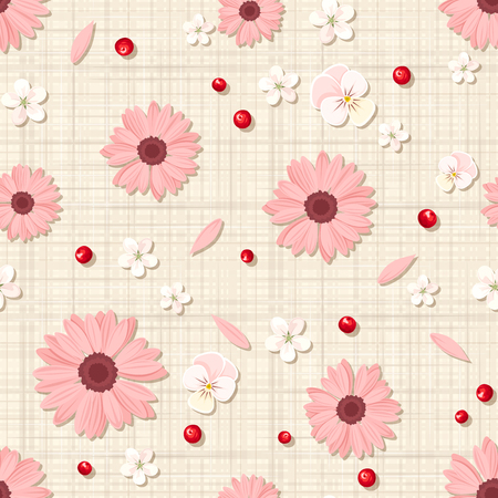 sacking: Vector seamless pattern with pink and white flowers, petals and berries on a beige sacking background.