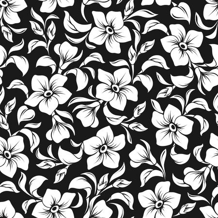 Vector seamless floral pattern with white flowers and leaves on a black background. Vettoriali