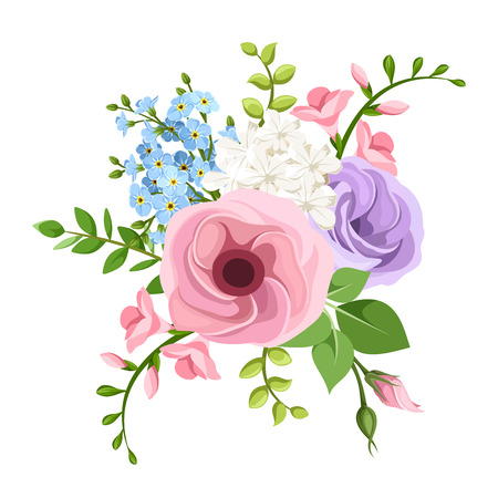 bouquet of pink, purple, blue and white lisianthuses, freesia and forget-me-not flowers. Illustration
