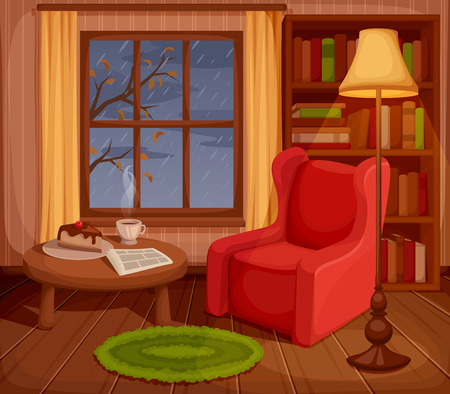 cartoon window: illustration of a cozy autumn living room with armchair, bookcase, lamp and rain outside the window.