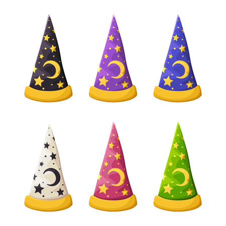 set of colorful wizards hats with stars isolated on a white background.