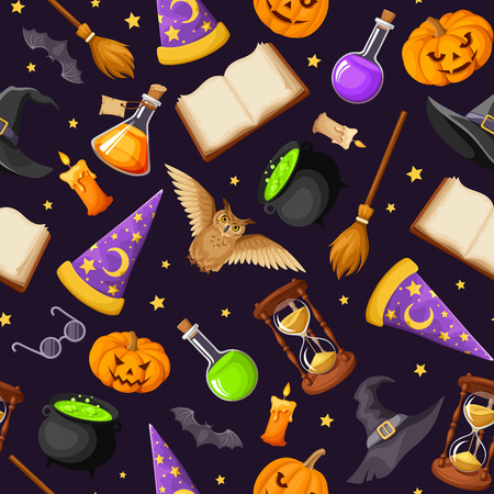 stars and symbols: seamless pattern with magical symbols: books, cauldrons, hourglass, owls, jack-o-lanterns, bats, brooms, flasks, wizards and witches hats and stars. Illustration