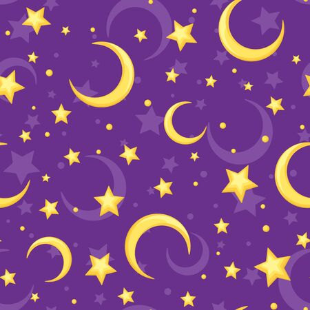starlit: seamless pattern with yellow stars and crescents on a purple background. Illustration