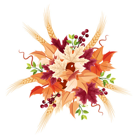 colorful autumn leaves bouquet isolated on a white background.