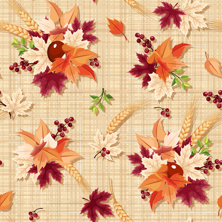 seamless pattern with colorful autumn leaves on a beige sacking background.