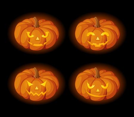 lighted: set of four lighted Jack-O-Lanterns (Halloween pumpkins) on a black background.