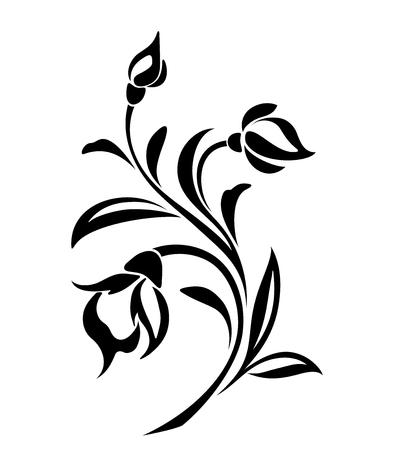 dessin au trait: Vector black silhouette de fleurs ornement isolé sur un fond blanc.
