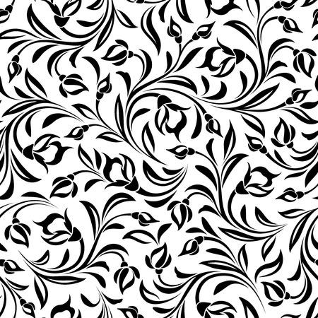 ベクターのシームレスな黒と白花柄パターン。