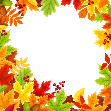Vector red, orange, yellow, brown and green autumn leaves frame.
