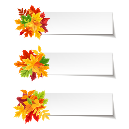 red leaves: Set of three vector web banners with red, orange, brown, purple and yellow autumn leaves. Illustration
