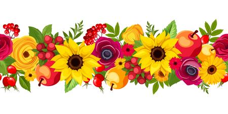Vector horizontale naadloze achtergrond met de herfst kleurrijke bloemen, appels, bessen en bladeren. Stock Illustratie