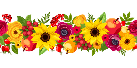 Vector horizontal seamless background with autumn colorful flowers, apples, berries and leaves.