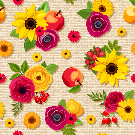 Vector seamless pattern with colorful autumn flowers, apples and berries on a beige sacking background.