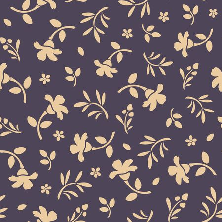 seamless patterns: Vector seamless pattern with orange flowers and leaves on a purple background. Illustration